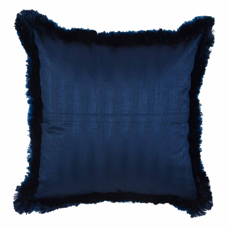 Solid Fringe Cushion Cover Blue 12 215 12 Ishatvam