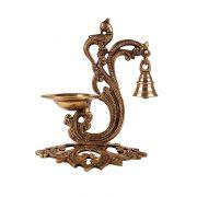 Brass diya with bell 1