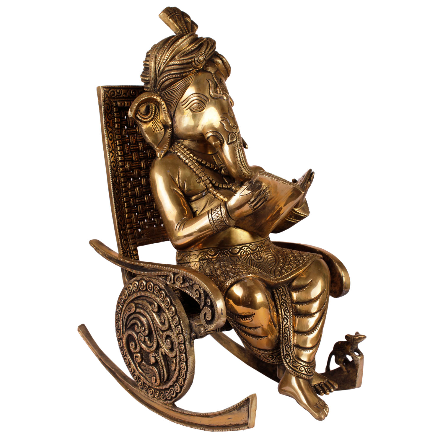 Ganpati reading on chair