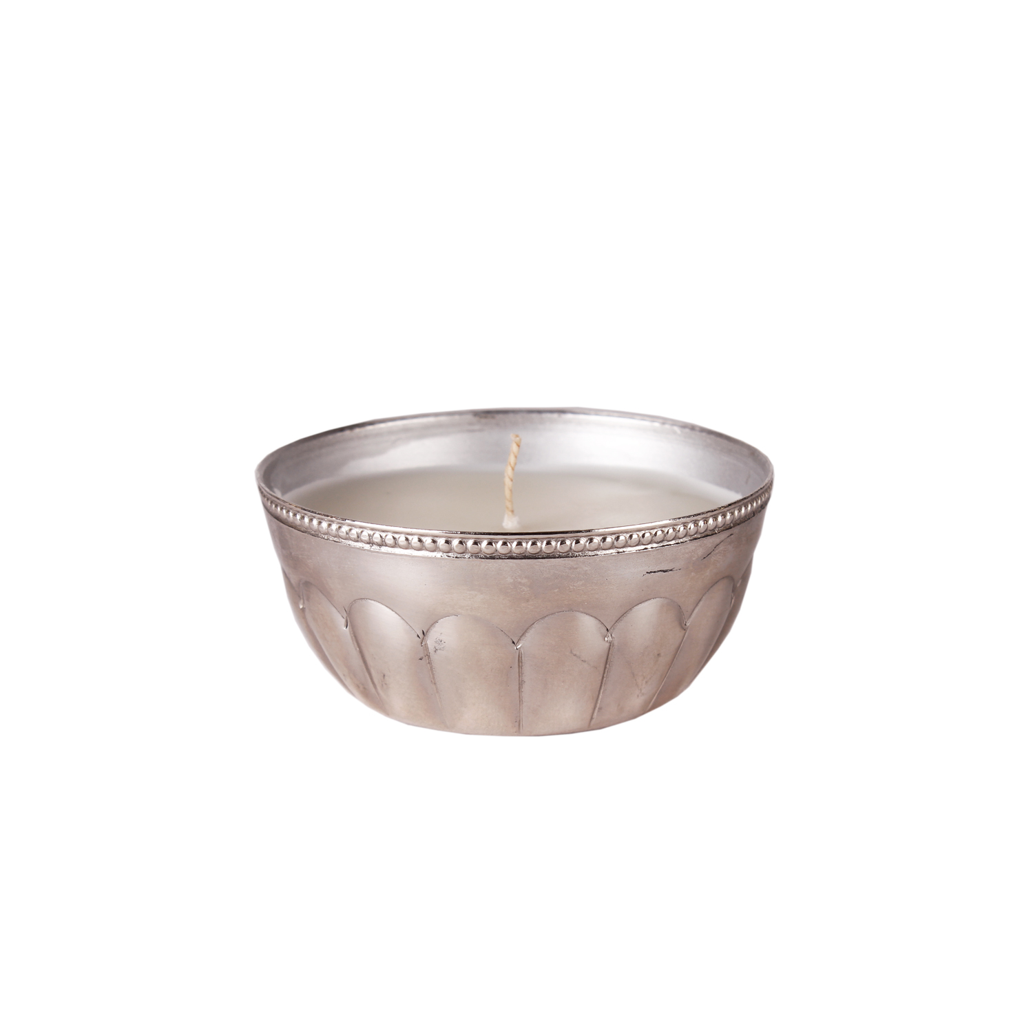silver bowl candle